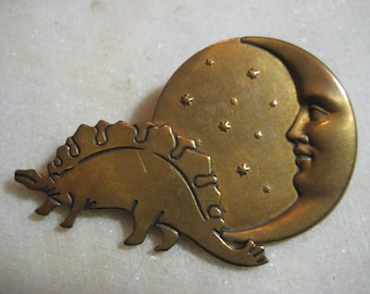 Vintage Brooch Topper Finding; Moon Face, Stars & Stegosaurus Dinosaur,  Heavy Stamped Brass, Constructed Component, 64mm by 41mm, 1 Pc.