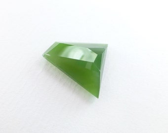 GREEN Jade Faceted Cabochon. Natural nephrite jade. British Columbia Canada. No Treatments. Can BE Drilled. 16.76 cts 19x19x7 mm (JD207)