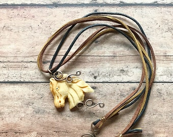 Equestrian Necklace, Bronze Wire Wrapped Bone Horse Pendant and Soft Suede Cord, Horse Lover, Rustic Cowgirl Present, Graduation Present