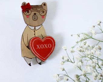 Tunnel of Love Valentine Bear Wearable Art Pin by Winnifreds Daughter