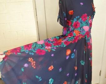 Sheer Floral & Fruit Print Vintage 1980's Women's Full Skirt Dress L XL