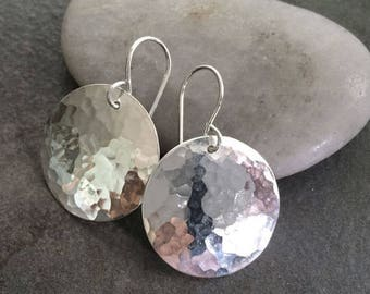 Medium Large 1/2 Inch Hammered Circle Disc Earrings in Sterling Silver with Forged Hammer Marks, Full Moon Earrings