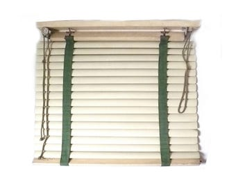"Vintage Steel Venetian Window Blind ... 29"" x 29"", Acme Galvabond 1940s Office Door Slatted Window Shade, Off White Retro Window Covering"