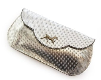 SALE  silver handbag, Large leather clutch, Silver clutch, Evening bag, Silver leather purse, with dark horse