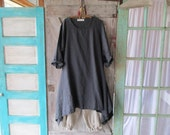 linen contemporary tunic dress in charcoal grey  ready to ship