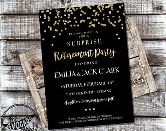 Classic Black and Gold Retirement (or any event) Invitation - DIY printing or Professional Prints