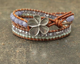 One of a Kind Leather Wrap Bracelet Green Lavender Blue Flower Bracelet Shabby Boho Chic Flower Jewelry Unique Gemstone and Leather Jewelry