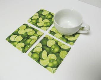 Set Of 4 Fabric Coasters/Lime
