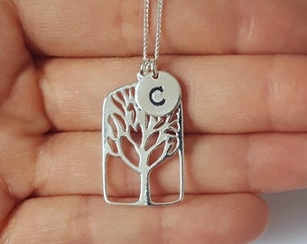 Sterling Silver Tree Necklace, Tree of Life, Family Tree, Rectangular Tree, 16x27mm, 18 Gauge, Birthday Gift, Mother's Gift,Grandmother Gift