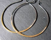 Boho Gold Hoop Earrings 22K Gold Black Rhodium Hammered Silver Earrings Large Hoop Earring Silver Hoop Earring Boho Earring 3 Inch Hoop