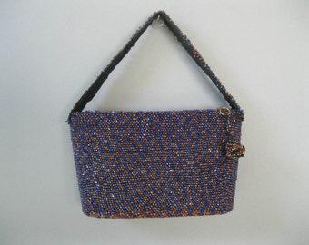 Vintage 1940s Beaded Box Purse - 40s Carnival Blue Evening Handbag