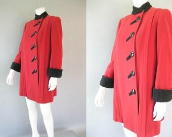 1940s Red Coat - Curly Lamb Trim  - Wool  Coat