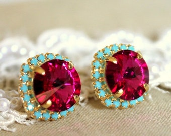 Swarovski Crystal Pink Fuchsia Turquoise Gold or Silver Stud Earrings,Pink Turquoise Swarovski Bridesmaids Earrings,Swarovski Stud Earrings