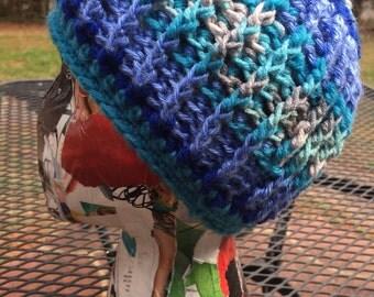 Funky blue beanie hat