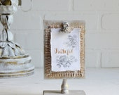 Wood Clipboard, Wood Clip Board, Wood Note Holder, Memo Holder, Note Holder, Shabby Decor, Wood Stand, Inspirational, Grateful, Photo Holder