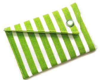 Monogrammed Business Card Holder Card Case - Green White Stripe