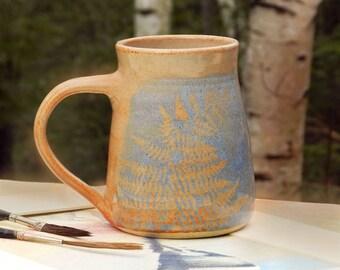 Big Coffee Mug, Handmade, Large Stoneware Mug, Blue, Wheel Thrown Pottery,Microwavable, Country Kitchen Decor,Cottage, Nature,Woodland Art