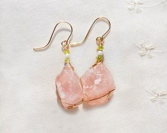 Raw Stone Earrings. Gold Filled Earrings. Stone Jewelry. Gold Filled Jewelry. Big Rose Quartz Earrings. Heavy Pink Earrings+ Pearls+ Peridot