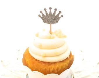 24 Silver Glitter Crown Cupcake Toppers - Food Picks - Party Picks