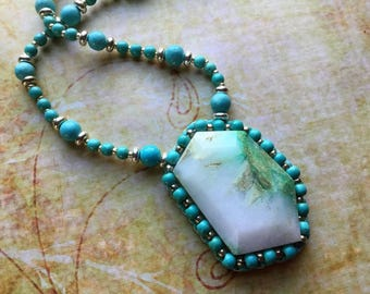 Chrysocolla Necklace, Turquoise and Crystal Jewelry, Wearable Art, Beaded Necklace, Boho Gypsy Chic, Bead Embroidery, Gift for Mom