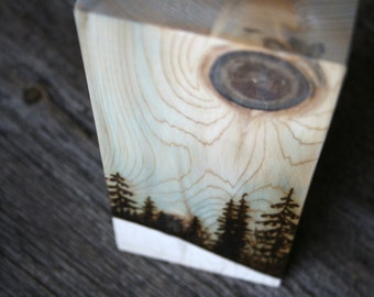 Winter Skies - Art Block - Wood burning