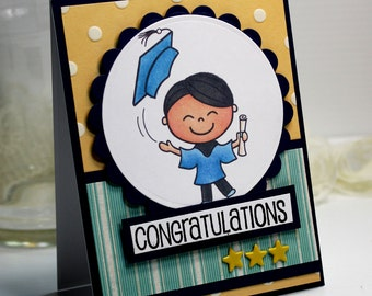 "New Graduate Card - 3D Greeting Card - 4.25 x 5.5"" Congratulations Pink Cat Studio Boy Masculine Graduation Notecard Blank - OOAK"