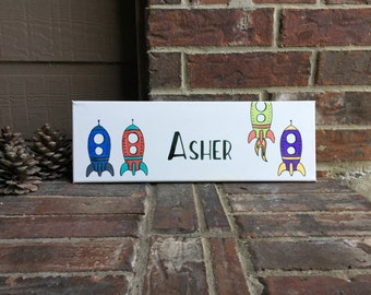 "6""x18"" Personalized Custom Name Rocket Ship Wrapped Canvas"