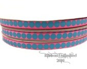 10 yds WHOLESALE 3/8 Inch Hot Pink-Turquoise Gumball Dots grosgrain ribbon LOW SHIPPING Cost