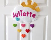Personalised Door or Wall name sign, cloud and rainbow hearts name plaque, hanger nursery decor banner