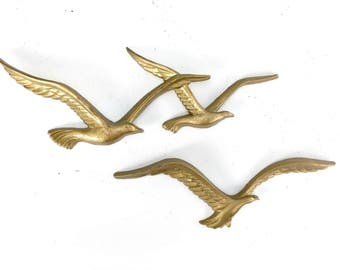 Three Flying Birds Wall Hangings, Swallow Birds, MCM Mid Century Modern Wall Art, Homco, Syro Co, Made in the USA, Gold Tone