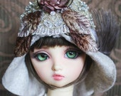 Beaded and Sequined Motif Flapper Style Hat with Rosette and Velvet Leaves For Ball Jointed Dolls & Blythe