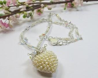Freshwater Pearl Heart Pendant Necklace, Swarovski and Freshwater Pearl Heart Pendant with Sterling Silver, Unique Pretty Pearl Necklace