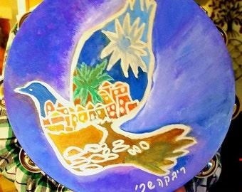"Signature Silk Dove on Tambourine 10"" inch"