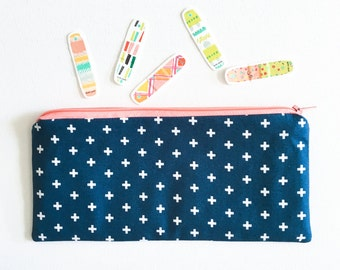 First Aid Zipper Pouch, Bandaid Bag, Ouch Pouch, Kids Travel Bag, Travel Pouch, Navy and White Plus Signs, Swiss Cross