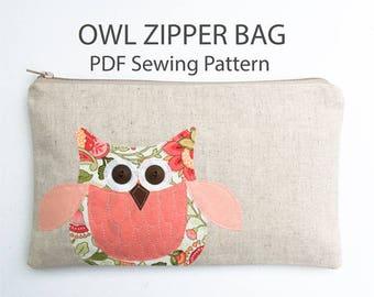 Sewing Bag Pattern, Zipper Pouch Pattern, Beginner Sewing Pattern, Owl Zipper Pouch, Sewing Tutorial, Applique Owl Bag PDF Download Pattern