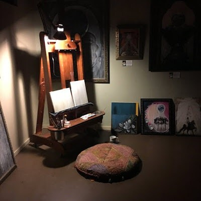 carrie martinez, artist at work, art studio, painting process, blank canvas