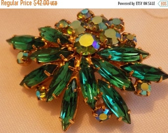 ON SALE Vintage brooch, Juliana D & E look emerald green marquise and Ab crystals floral brooch, retro jewelry
