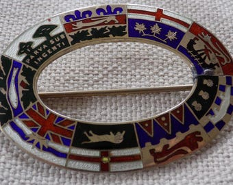 Antique 1904 Canadian flags sash brooch (before Newfoundland joined Confederation ),marked RD1904, large enameled brooch