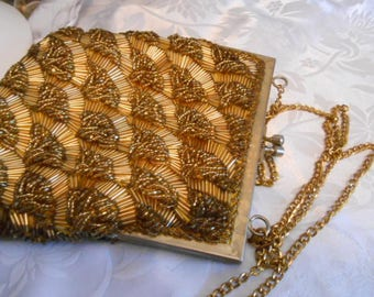 Vintage purse, golden beaded evening bag, signed Walberg Hong Kong formal purse, shell design purse retro accessory,