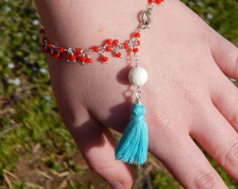 Red Glass Bead Fringe Bracelet with Natural White Sponge Coral and Handmade Teal Tassel, Silver Plated Wire, Hand Wire Wrapped Jewelry, OOAK