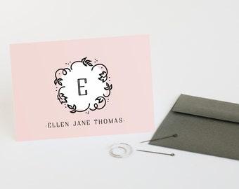 Monogram Stationery Set,  Personalized Note Cards, Women's Folded Stationery // SO SWEET