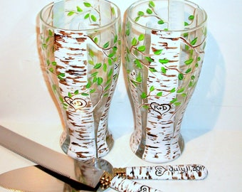 Aspen Trees (Green Leaf ) Heart and Initials Hand Painted Set of 2 -19 oz. Pilsner Beer Glasses and Cake Knife & Server Wedding Anniversary