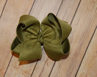 SSD Olive Moss Green Canvas Hair Bow