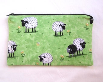 Cute Sheep Fabric  Zipper Pouch / Pencil Case / Make Up Bag / Gadget Pouch