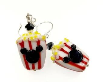 Popcorn Earrings, Lampwork Earrings, Mouse Earrings, Drop Earrings, Gift Idea, Red and White Earrings, Glass Bead Earrings, Animal Earrings