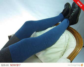 Sale -  Sea Blue Thigh High Boot Socks Over the Knee Leg Warmers Cotton Cashmere Blend A1807