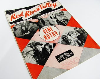 Sheet Music Red River Valley 1936 Republic Film Company Movie Starring Gene Autry, Popular Motion Picture Country Western Cowboy Singer