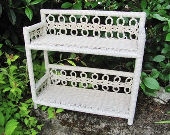 Wicker Shelf White Vintage Two-Tiered Standing Or Wall Shelf Good Condition Very Old Cottage Chic