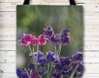 Floral Tote Bag, Pink Purple Flowers, Columbine Flowers, Bridal Shower Gift, Bridesmaid Gift, Gift for Her, Gift for Mom, Reusable Bag