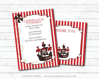 Printable PIRATE Birthday Party Invitation & Thank You Card, Customized Printable Invitation, Yo Ho Ho Pirate Invitation Design 4x6 or 5x7